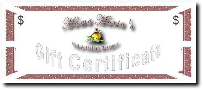 Greek Food Italian Food Mama Maria's Gift Certificates in Greenville SC